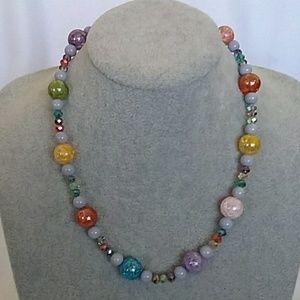 NWT Multi color and gray beaded necklace